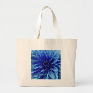 Blue Floral Dahlia Flower Pattern Canvas Bag