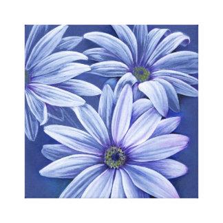 Blue floral daisy canvas original fine-art print