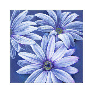 Blue floral daisy canvas original fine-art print gallery wrapped canvas