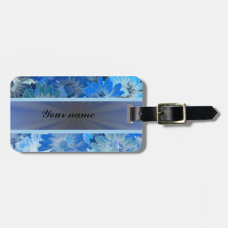 Blue Floral Daisy Pattern Luggage Tag