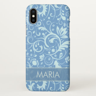 Blue Floral Damask Custom iPhone X Case