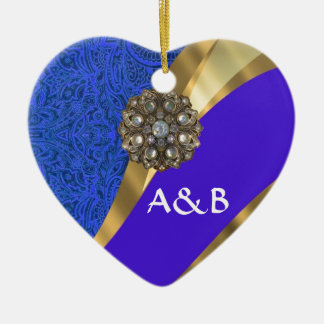 Blue floral damask & gold ribbon christmas ornament