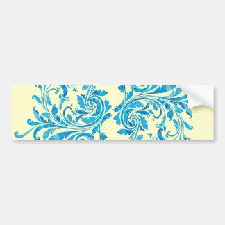 Blue Floral Damask Pattern Bumper Sticker