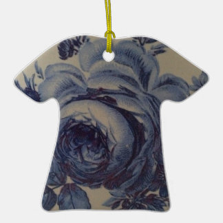 Blue Floral Double-Sided T-Shirt Ceramic Christmas Ornament
