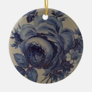 Blue Floral Round Ceramic Decoration