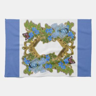 Blue Floral Decorative Lace and Leaf Kitchen Towel