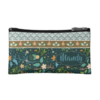 Blue Floral Design Custom Text Cosmetic Bag