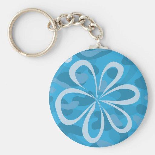 Blue Floral Design Key Chains