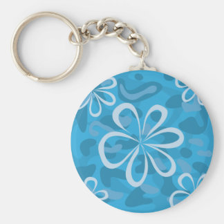 Blue Floral Design Basic Round Button Key Ring