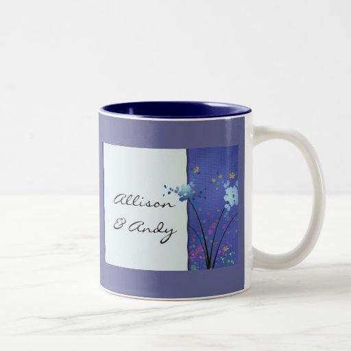 Blue floral design mug