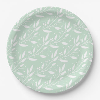 Blue Floral Design Party Supply Plate
