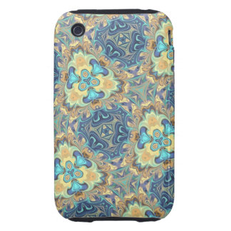 Blue Floral Digital Art Abstract Tough iPhone 3 Cover