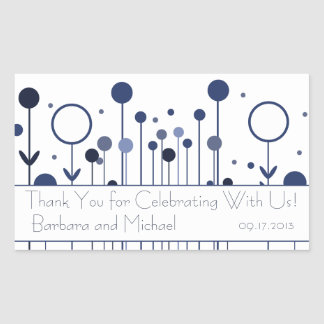 Blue Floral Dot Rectangle Stickers