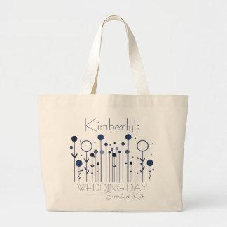 Blue Floral Dot Wedding Day Survival Kit Bag