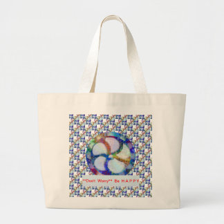 Blue Floral DREAM : Editable Text replace Greeting Canvas Bag