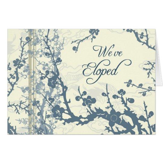 Blue Floral Elopement Announcement Card