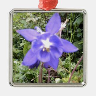 Blue Floral Flower Image Christmas Ornament