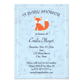 "Blue Floral Fox Woodland Baby Shower 4.5"" X 6.25"" Invitation Card"