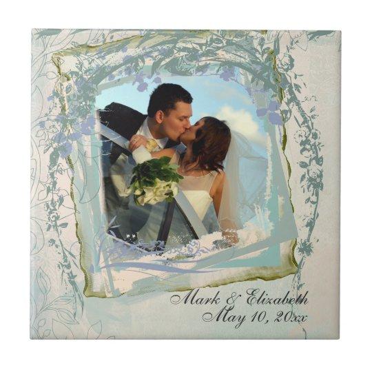 Blue Floral Frame Photo Ceramic Tile
