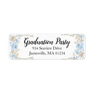 Blue Floral Graduation Return Address Labels
