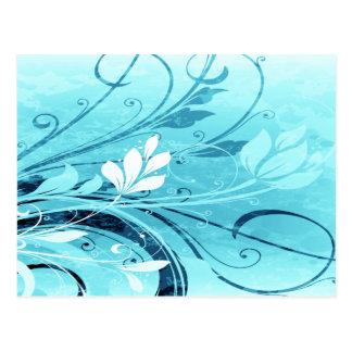 Blue Floral Grunge Postcard