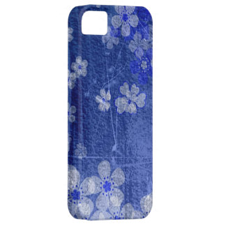 Blue floral grunge wall background iPhone 5 cases