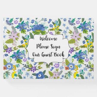 Blue Floral Guest Book
