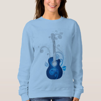 Blue Floral Guitar Sweatshirt