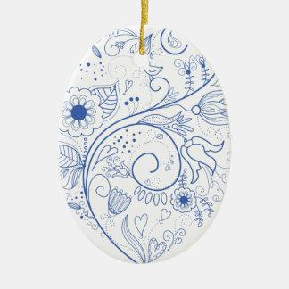 Blue floral heart ceramic oval decoration