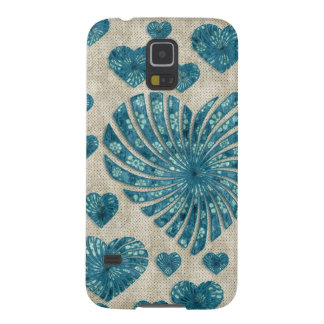 Blue Floral Heart with Pink Polka Dots Case For Galaxy S5