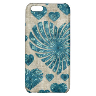 Blue Floral Heart with Pink Polka Dots iPhone 5C Cover
