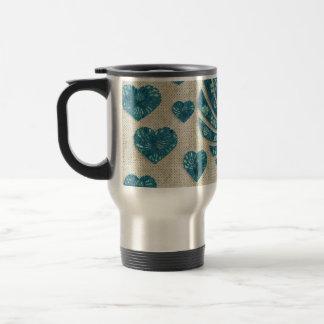 Blue Floral Heart with Pink Polka Dots Travel Mug
