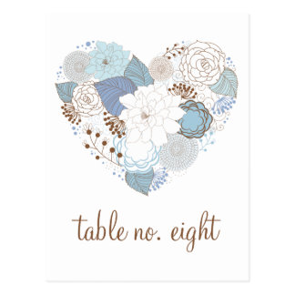 Blue Floral Heart Wreath Table Number Postcard