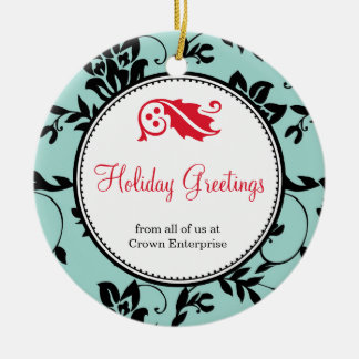 Blue floral holiday greeting custom business logo christmas ornament