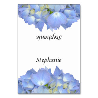Blue Floral Hydrangea Name Template Place Cards Table Card