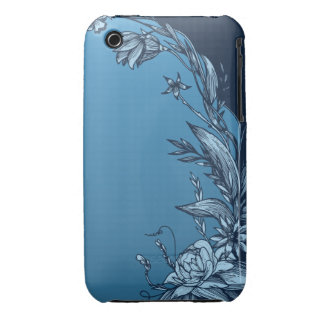 Blue Floral iPhone 3 Case-Mate Cases