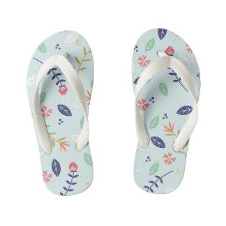 Blue Floral Kids Flip Flops