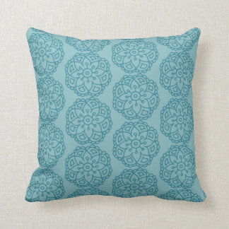 Blue floral lace cushion