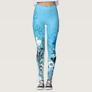 Blue Floral Leggins Leggings
