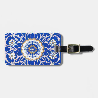 Blue Floral Mandala Pattern Luggage Tag