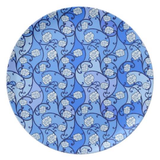 Blue Floral Melamine Plate