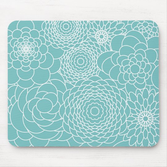 Blue Floral Modern Abstract Flowers Mouse Mat