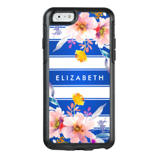 Blue Floral Modern Striped Otterbox iPhone 6 Case