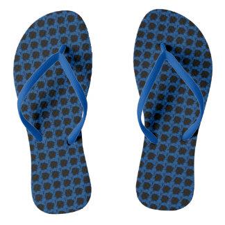 Blue Floral Motif on Flip Flops