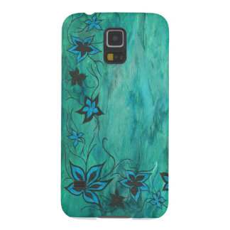 Blue floral on blue haze galaxy s5 cover