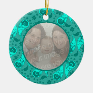 Blue Floral Paisley Photo Double-Sided Ceramic Round Christmas Ornament