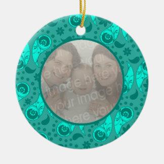 Blue Floral Paisley Photo Ornament