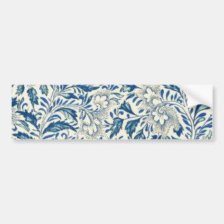 Blue floral Pattern Antique Vintage Bumper Sticker