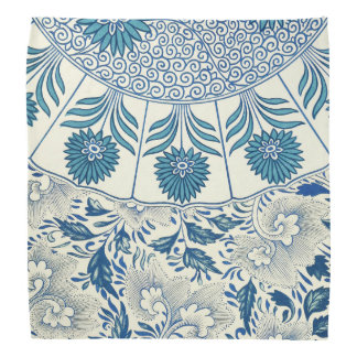 Blue floral Pattern Antique Vintage Kerchief