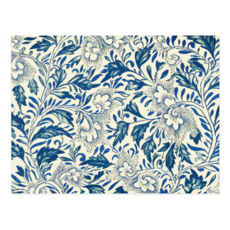 Blue floral Pattern Antique Vintage Postcard